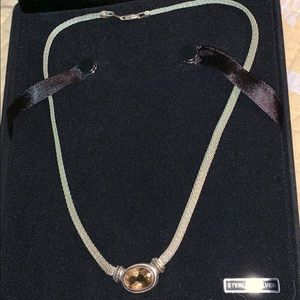 Jewelry - sterling silver mesh necklace w citrine stone